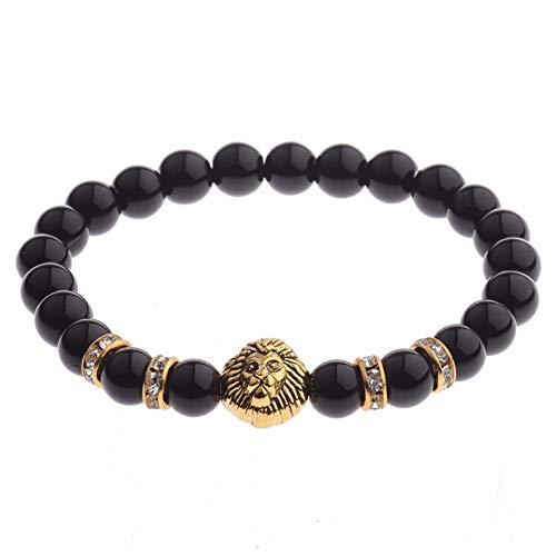 DLIAN armbanden natuursteen onyx parels mannen goud lederen armband tijgeroog lava rok helder zwarte steen parel brcelet sieraden