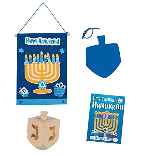 Hanukkah Banner Craft Kit, Wooden Dreidel Spinning Tops Toy, Hanukkah Activity Book and Colorful Scratch Dreidels - Kit for Kids