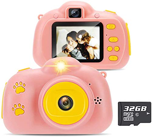 Yidarton Kinderkamera HD Digital Kamera für Kinder Selfie Kamera Wiederaufladbare Kids Camera Mini Action Camcorder Fotoapparat Spiele und Geschenk für Kinder Mit 32G Karte und USB-Kabelbügel