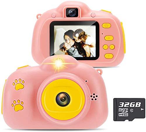 Yidarton Cámara digital HD para niños, cámara de selfie, recargable, para niños, con tarjeta de 32 G y cable USB