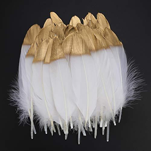 Mwoot 40pcs Plumas blancas naturales con punta empapada en oro, artesanía natural...