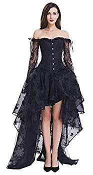 Kimring Women s Steampunk Victorian Off Shoulder Embroidery Long Sleeves Corset Top With High Low Skirt Set Black XXXXX-Large