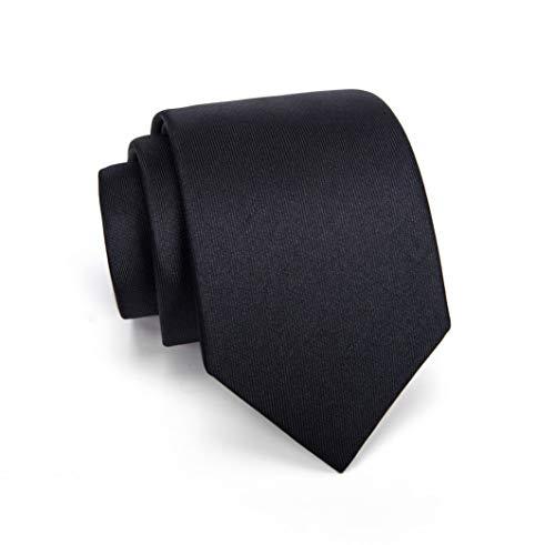Massi Morino ® Seidenkrawatten für Herren - handgenähte Krawatte schwarz schwarze schwarzfarben schwarzekrawatte black Trauer Beerdigung trauerkleidung blacktie klassischekrawatte