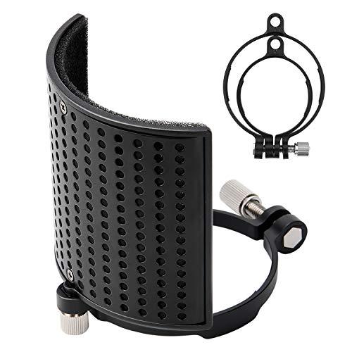 Filtro Antipop Moukey Panel y Malla de Metal para BLUE YETI, AT2020, AT2050 y Micrófonos Diámetro de 46-70 mm, Pantallas Antiviento Protección Máscara