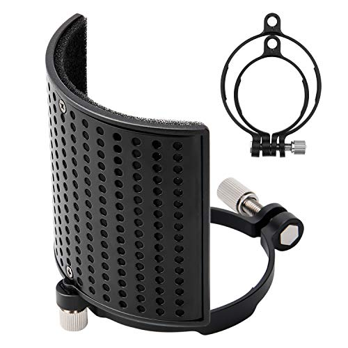 Pop Filter, Moukey MPFUBK [Upgraded Three Layers] Metal Panel & Metal Mesh & Advanced Filter Foam Layer Microphone Windscreen Cover Handheld Mic Shield Mask, for BLUE YETI, AT2020, AT2050