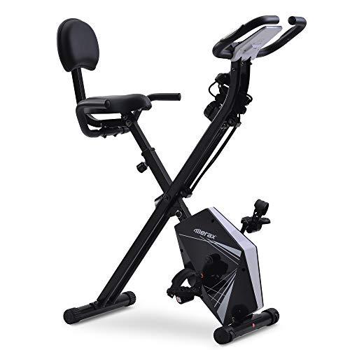 Merax Fitness Bike, bicicleta estática plegable, magnética, plegable, con 10 niveles de resistencia, para casa, oficina, interior o bicicleta, hasta 150 kg, negro y blanco