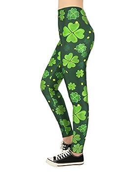 HDE Saint Patricks Day Leggings for Women St Pattys 4 Leaf Clover Shamrock Pants - Small