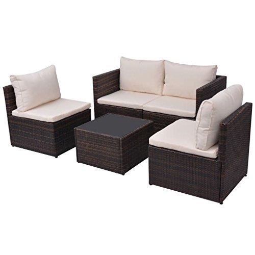 Tidyard 5-teilige Terrassenmöbel-Sets, Allwetter-Rattan-Outdoor-Schnittsofa, PE-Rattan-Patio-Konversationssets mit Beistelltisch und Kissen Braun