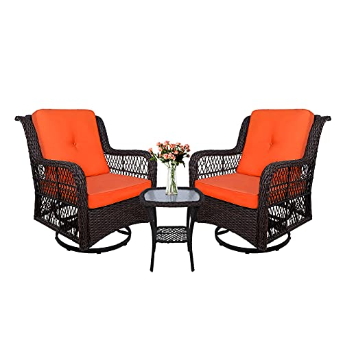 W WARMHOL 3-Piece Patio Rocking Chairs Wicker Bistro Set Cushioned, Outdoor Glider Swivel Chair Rattan Furniture Sets with Thickened Cushion and Glass-Top Coffee Table (Orange Cushion)