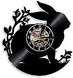 ZZLLL Kaninchen Silhouette Kinder Wanduhr modernes Design schwarz Kunststoff Schallplatte Wanduhr...