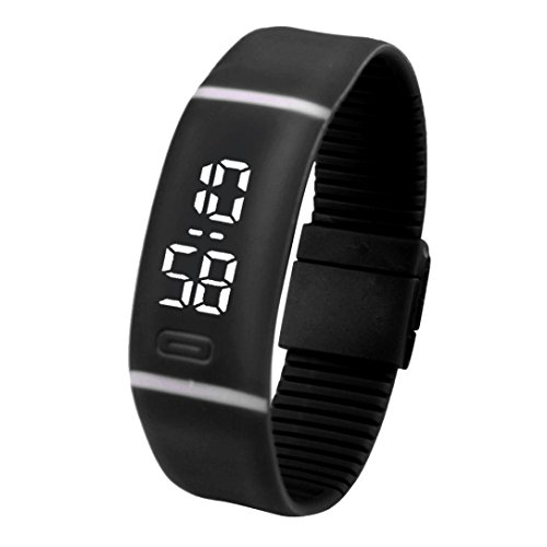 FEITONG Einfach Unisex Gummi LED Uhr Datum Sport Armband Digital Armbanduhr (Schwarz)