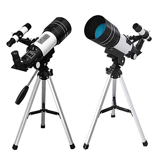 Desktop Astronomical Telescope for Adults Kids Astronomy Beginners, 70mm Aperture 300mm AZ Mount Powerful Telescope for Moon Planet Exploration, Portable Telescope with Tripod, Phone Adapter (White)