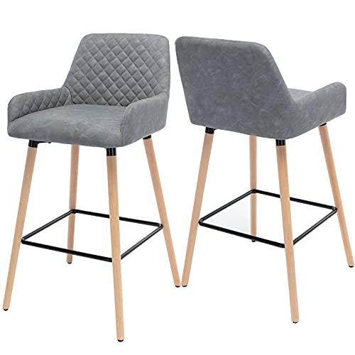 Kslogin Juego de 2 taburetes de bar grises, respaldo de poliuretano, patas de haya maciza negra, sillas de desayuno para sala de estar, cocina