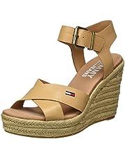 Tommy Hilfiger Natural Wedge Sandal, Sandalias Punta Cerrada para Mujer
