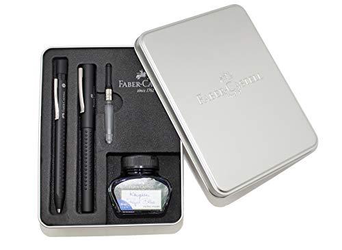 Estuche de regalo de metal relleno con Grip 2011, pluma negra en grosor M y bolígrafo con mina XB, convertidor y vaso de tinta azul real, borrable, 30 ml