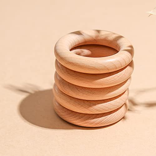Haya Mordedor anillo de madera de 70 mm / 5 piezas Bebé de la dentición de juguete accesorios de la pulsera respetuoso del medio ambiente sin terminar de madera del arte del bebé Teether Juguetes