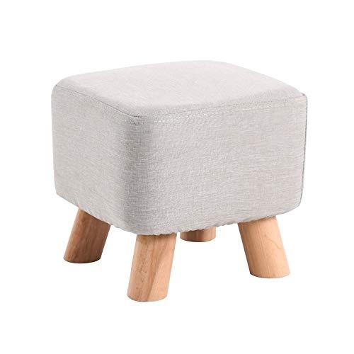 IBUYKE Small Footstool Solid Wood Ottoman Stool Sofa Tea Stool Change Shoes Bench Footrest Stepstool Padded Seat Wooden Legs Living Room Bedroom GL-BD020