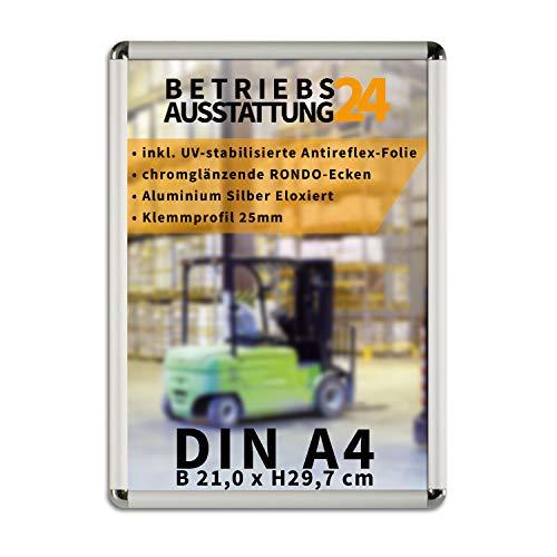 Betriebsausstattung24 Plakatrahmen mit Klemmrahmen | Alu Klapprahmen | 25mm Aluminium Profil | inkl. entspiegelter Schutzfolie (abgerundete Ecken (Chromglänzend), DIN A4 (HxB 29,7x21,0 cm))