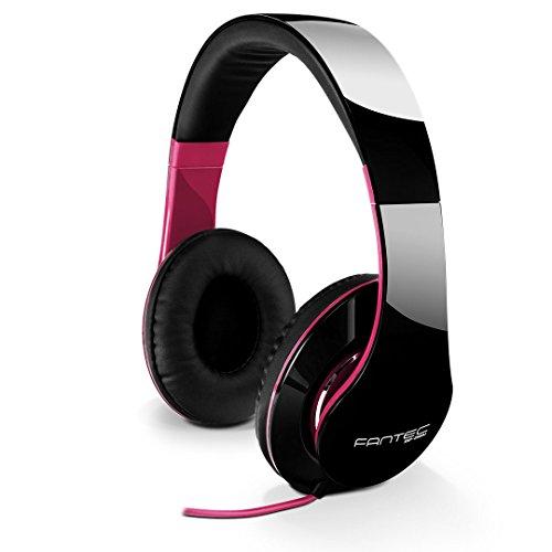 FANTEC SHP-250AJ Stereo HiFi Kopfhörer (mit Bügel, On Ear, 3, 5 mm Klinkestecker, Bassstark, Große und weiche Ohrpolster) schwarz/pink