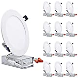 TORCHSTAR Essential Series 12-Pack 13.5W 6 Inch Slim LED Panel Downlight with J-Box, Dimmable 1000lm Ultra-Thin LED Recessed Light, ETL & Energy Star Listed, 3000K Warm White, White