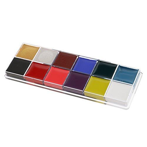 MagiDeal 12 Couleur Visage Art Corporel Peinture Maquillage Palette Pour Fête Halloween Fantaisie Robe