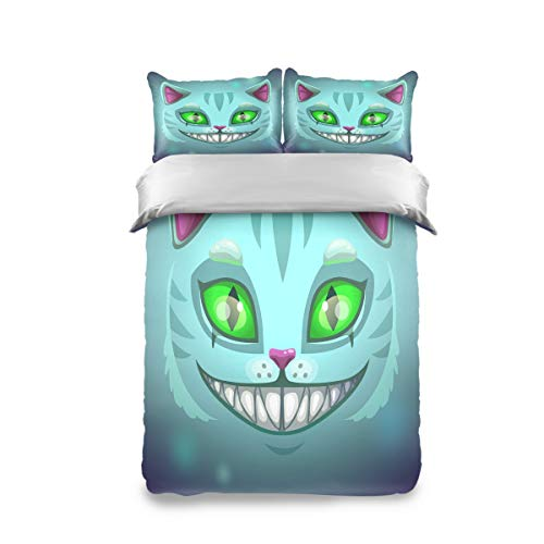 Kids Bedding Sets Green Eye Halloween Fantasy Scary Smiling Cat Cheshire Duvet Cover Comforter Set with 2 Pillow Shams Soft Bed Sheets Bag Twin Size 3 Piece for Teen Boys Girls Students Cotton