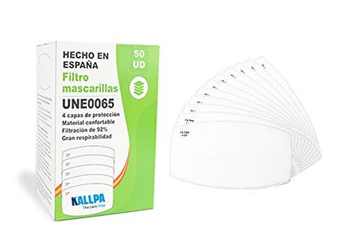 [ENVÍOS EN 24H] KALLPA 50 filtros para mascarillas UNE0065 - REUTILIZABLES - fabricados en ESPAÑA - hidrófobo,...