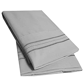 Sweet Home Collection 2 Pack Pillow Case Set 1800 Series Fine Double Brushed Microfiber Triple Marrow Stitch Pillowcases Standard Silver