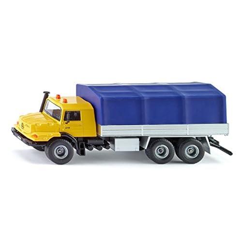 Siku 3547 Camion Mercedes-Benz con cassone e telone, 1:50, Metallo/Plastica, Giallo/Blu, Cassone ribaltabile