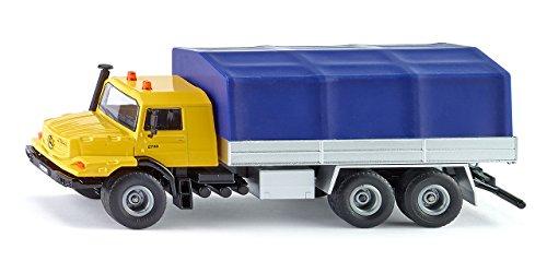 SIKU 3547, Mercedes-Benz LKW mit Pritsche und Plane, 1:50, Metall/Kunststoff, Gelb/Blau, Kippbare Pritsche