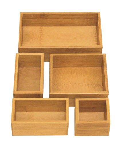 Seville Classics Caja de utensilios y utensilios de cocina organizador de almacenamiento, 5 unidades, bambú