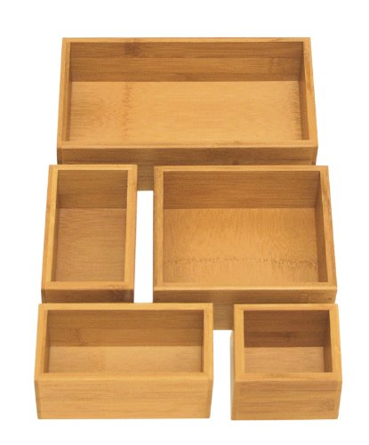 Seville Classics Box Utensil & Kitchen Tool Holder Storage Organizer, 5 pc, Bamboo