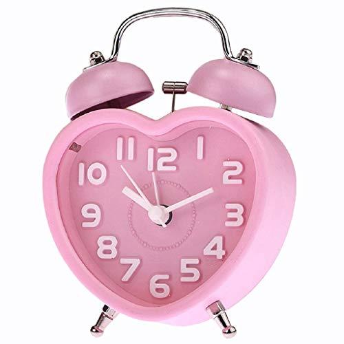 YSMLL Venta caliente Cute Pequeña Pequeña Campana Night Light Children Mini Cuarzo Reloj de alarma Corazón (rosa)