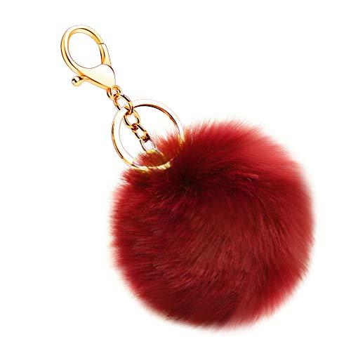 Soleebee Künstliche Kaninchenfell Keychain Flauschigen Ball Pom Pom Schlüsselanhänger Taschen Koffer Rucksäcke Zubehör Charm Auto Schlüsselanhänger Schlüsselring für Frauen Mädchen (Weinrot)
