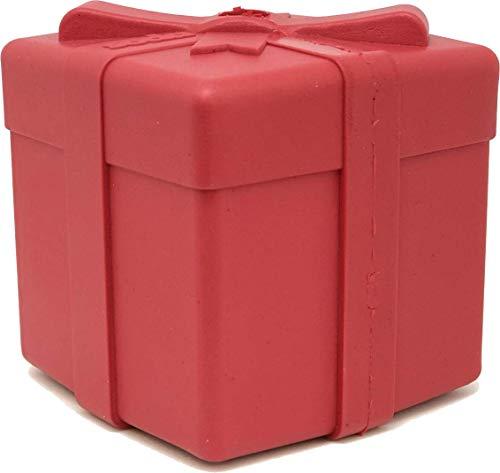 SodaPup - Caja de regalo de goma natural con forma de juguete para masticar - Dispensador de golosinas - Hecho en Estados Unidos - para masticadores pesados - Rojo - Mediano