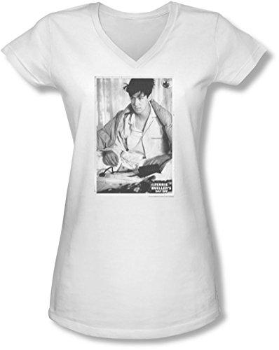 Ferris macht blau - junge Frauen Cameron V-Neck T-Shirt, Small, White
