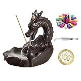OMME - Quemador de incienso con aroma a dragón, cerámica antigua, decoración del hogar, yoga, 20 conos de incienso mejorados (dragón)