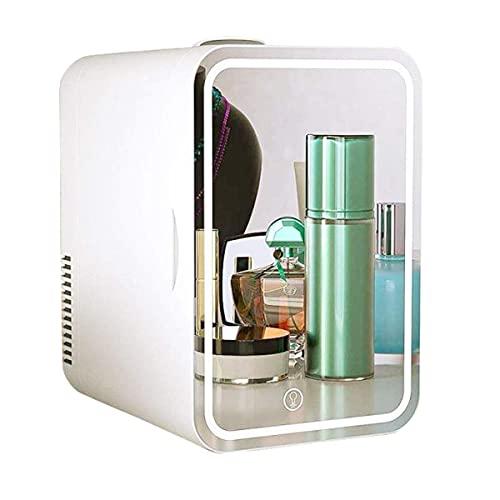 WECDS-E Mini refrigerador de Belleza, Espejo de Maquillaje LED Regulable + refrigerador para el Cuidado de la Piel, refrigerador portátil para automóvil de 8 l, se Puede Usar para Enfriar y Calentar