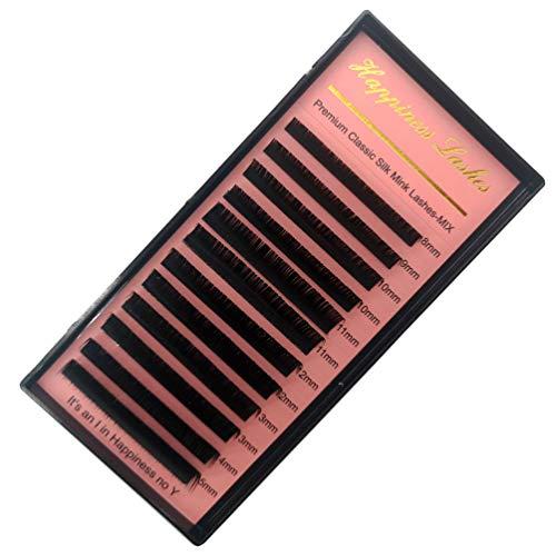HPSNESS Extensions de cils en soie vison facile à utiliser 12 rangs de cils classiques profonds mats 10 D+ (8-15 mm)