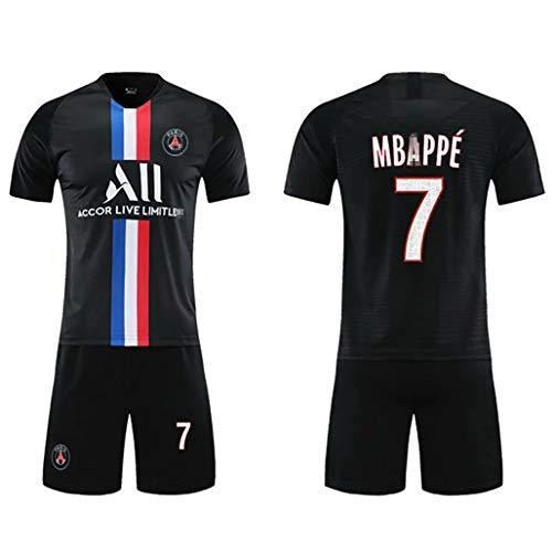 Herren Fußballanzug Französische Mannschaftstrikots für die Saison 2019-2020 Mbappe Fußballuniform Nr. 7 Fußballtrikot Fußballtrikot T-Shirt Shorts Kits-Black-Child~22