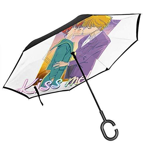 Marmalade Boy Me Mickey Yuu Parapluie inversé à Double Couche pour Voiture Mains Pliantes à l'envers en Forme de C - Parapluie léger