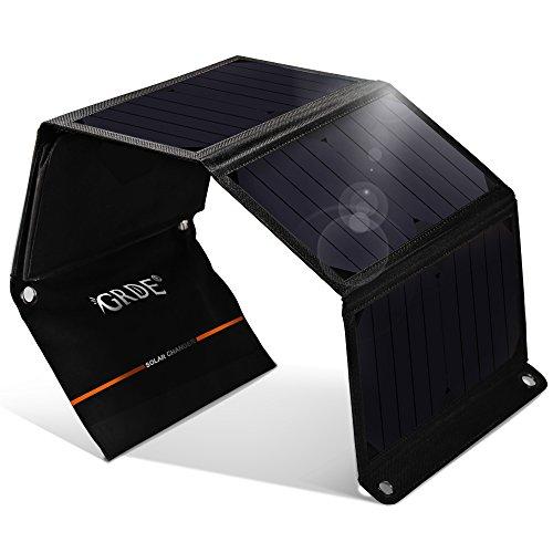 Pannelli Solari Portatili Caricabatterie Solare da 24W con 2 Porte USB ( 22%-25% Conversione Energia Solare, Pieghevole, Impermeabile) per iPhone, Samsung Galaxy, Gopro Camera, Power Bank, ecc