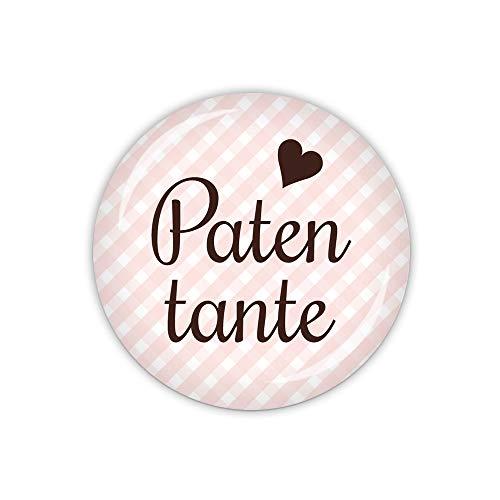 lijelove® Button 25mm Ø Vichy rosa, Patentante (Art. TA01-01-BU25)