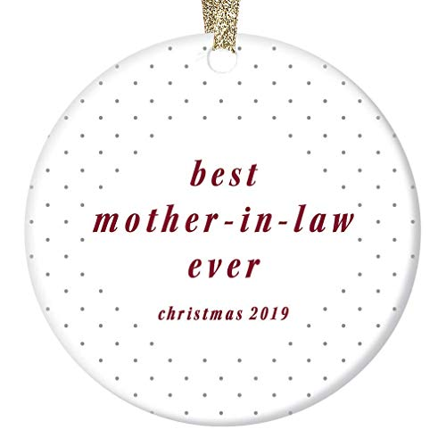 Best Mother In Law Ever Christmas Ornament 2019 Keepsake Newlywed Couple Bride Groom Special Mom Engagement Bridal Shower Party Wedding Gifts Elegant Polka Dots 3' Flat Circle Ceramic Tree Decorations