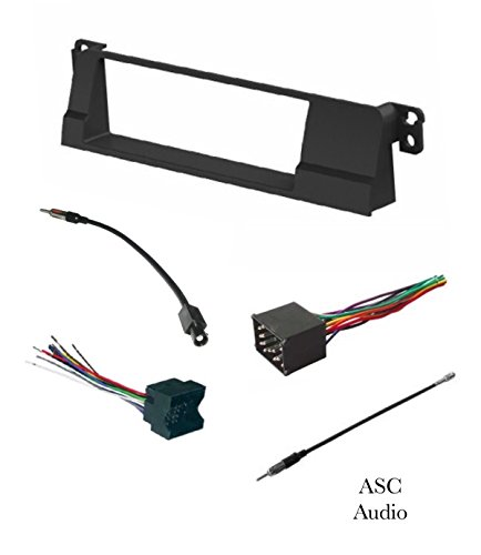 ASC Car Stereo Install Dash Kit, Wire Harness, and Antenna Adapter for installing a Single Din Aftermarket Radio for 1999 2000 2001 2002 2003 2004 2005 BMW E46 318 323 325 328 330