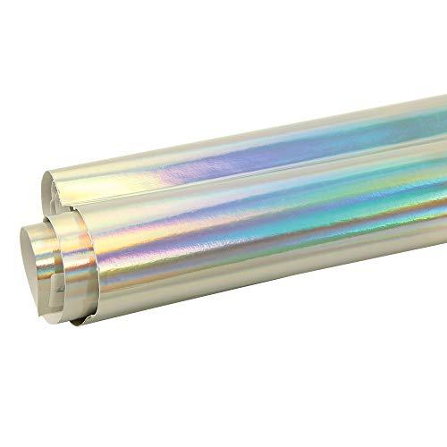 """liyandianzi 1.49x0.3m / 58,6 """"x12"""" Silver Chrome Holographic-Vinylverpackungs-Regenbogen-Vinylfilm-Luftblase geben frei Autoaufkleber Autozubehör"""