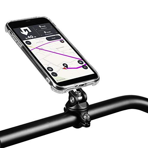 Handyhalterung X-Guard iPhone Lenker CNC Montageset mit Hülle Motorrad Roller Fahrrad eBike (X/XS schwarz)