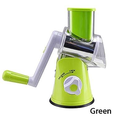 3 In1 Multifunctional Round Mandoline Slicer Manual Vegetable Cutter grater Vegetable Spiralizer Potato Slicer Kitchen Gadgets- undefined-kitchen accessories-Green