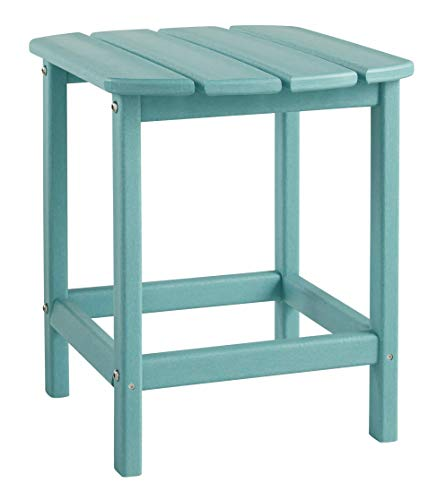 Signature Design by Ashley - Sundown Treasure Outdoor End Table - Hard Plastic - Slat Top - Turquoise