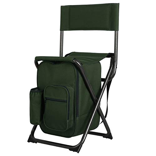 PORTAL Lightweight Backrest Stool Compact Folding Chair Seat with Cooler Bag and Shoulder Straps for Fishing, Camping, Hiking, Supports 225 lbs